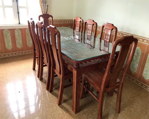 Bàn ăn 8 Ghế 1m8 Gỗ Tần Bì