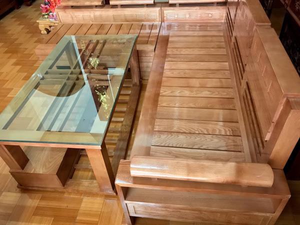 Bàn ghế gỗ sồi, bàn ghế sofa gỗ sồi