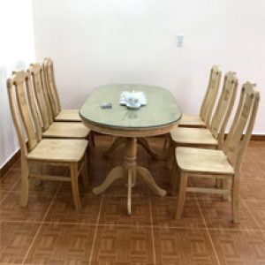 bàn ăn 6 ghế oval đà lạt