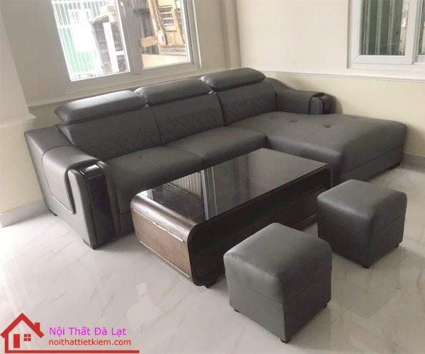 Sofa da trần trám tựa gật gù