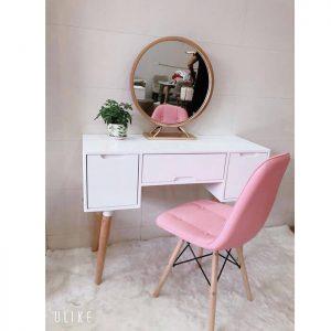 Bàn trang điểm 3 ngăn kéo ghế hồng