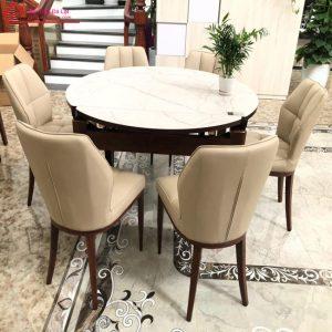 bàn ăn mặt đá ghế da